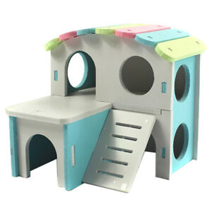 Hamster Hedgehog Wooden Mouse Guinea Pig Bed House Cage Ladder Exercise Toy