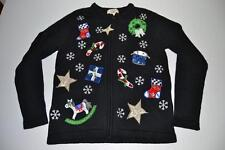 BECHAMEL UGLY CHRISTMAS STOCKING STAR SNOW BLACK CARDIGAN SWEATER SIZE SMALL S