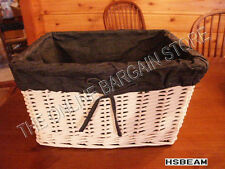 Wicker Storage Shelf toy book Basket w/ Bluejean Liner XL White storage 16X12X9