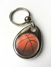 BASKETBALL SILVER PLATED ROUND KEYRING