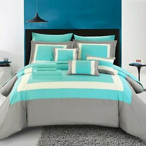 Beaudine 10 Piece Comforter Bed in a Bag Block Sheets, Pillows, Shams Turquoise