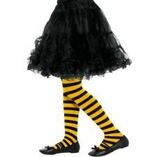 Bumble Bee Striped Tights Childrens Fancy Dress Accessory Yellow & Black