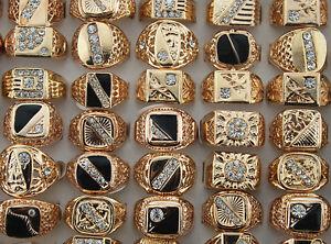 Wholesale Lots 30pcs Rhinestone Rose Gold Plated Men's Cool Enamle Fashion Rings