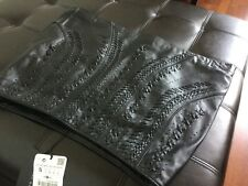 BNWT Zara Embroidered/ Braided Real Leather Black Mini Skirt Size S