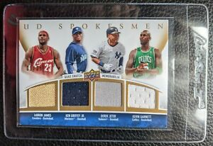 2009 UPPER DECK SPOKESMEN LEBRON GRIFFEY JETER GARNETT GAME USED JERSEYS #09/25