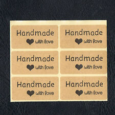 Kraft Handmade With Love Stickers x 12 *Craft* *Cards* *Weddings*