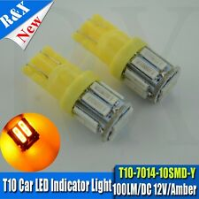 4x T10 7014 10SMD Amber/Yellow LED Car Light Wedge Lamp Bulbs Super Bright DC12V