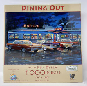 """SunsOut 1000 Piece Jigsaw Puzzle - Dining Out by Ken Zylla 19"""" x 30"""" NEW RARE!"""