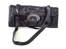 David & Scotti Made on Earth Black leather Bronze Buckle Shoulder Bag RARE