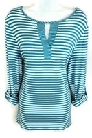 Chicos Womens Knit Top Size 2 L Large Blue White Stripe Keyhole Neck Long Sleeve