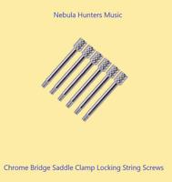 Chrome Brass Guitar Tremolo Bridge Saddle Clamp Locking String-Thru Screws 6x