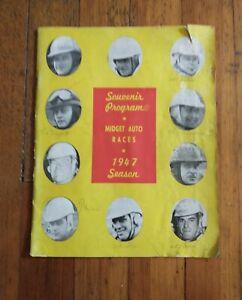Souvenir Program Midget Auto Races 1947 Season - Cageless Autographs Tappett +