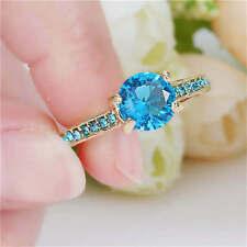 Size 7 Marquise Cut Blue Aquamarine Wedding Ring yellow Rhodium Plated Party
