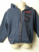 BOYS LEVIS AGE 4 YEARS BLUE & RED HOODED ZIP UP SWEATSHIRT JUMPER JACKET TOP