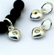 Sterling Silver baby puff heart charm w/ zirconia centre silver puff heart charm