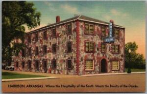 Harrison, Arkansas Postcard HOTEL RUSH Street View Roadside Linen Unused c1940s