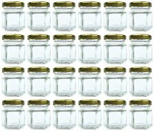 1.5 oz Hexagon Jars, 24 Piece Set Mini Glass Favor Jars for Spices, Honey, Jelly