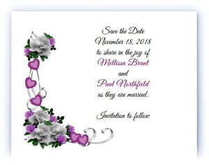 100 Personalized Custom Purple Heart Flower Bridal Wedding Save The Date Cards