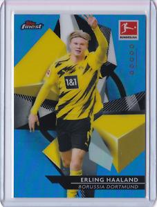 2020-21 Topps Finest Bundesliga ERLING HAALAND Blue Refractor Dortmund 41/150