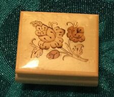 Vtg.Reuge Sorrento Music Box Floral Inlay Light Lacquer Wood Excellent