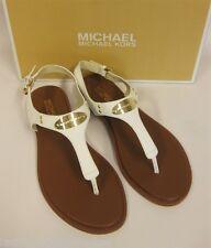 MICHAEL KORS weiße Sandale mit Logo - 39.5 = US 9 - MK plate thong  - NEU / NIB