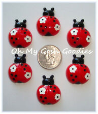6PC RED WHITE FLOWER DOTS LADY LADYBUG FLATBACK RESINS 4 HAIRBOW BOW CENTER