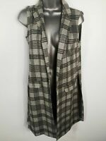 WOMENS ATMOSPHERE GREY CHECKED GILET SLEEVELESS SHAWL CARDIGAN SIZE UK 8 SMALL