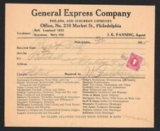 1915 General Express Company Receipt to Rieger & Gretz Brewing Company