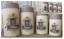 French Food Safe Tin Canister Set rustic vintage country kitchen home bar decor