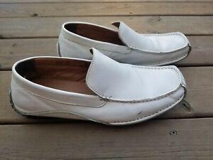 Steve Madden Men's White Leather Dress Slip On Loafers Shoes Size Novo 9