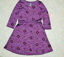 NWT Girl size M 7 / 8 Purple Casual Fit & Flare Stretch Floral Dress 3/4 Sleeve