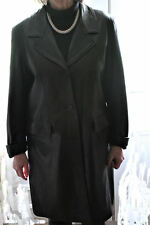 HEAVY QUALITY BLACK LEATHER SINGLE BREASTED COAT 12/14 VGC