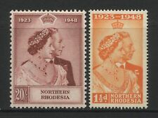 Northern Rhodesia 1948 KGVI Silver Wedding Pair Mounted Mint