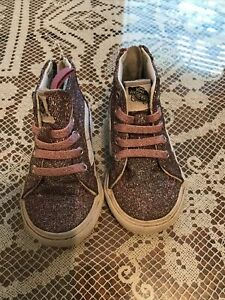 GIRLS TODDLER VANS OFF THE WALL HIGH-TOP SIZE 4.5 U.S.Purpple/pink glitter shoes
