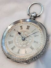 Swiss Silver Pocket watch. Beautiful Silver Dial *(FULL WORKING ORDER)* 1880s.