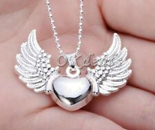 Vintage925Sterling Silver Plated Heart Angel Wing Charm Pendant Necklace Jewelry