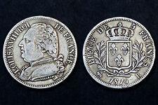 5 Francs 1814 B (Rouen), Louis XVIII°. Tranche en creux. Argent. TTB++
