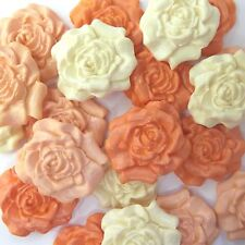 12 Orange Pale Mix Cream Sugar Roses edible sugarpaste flowers cake decorations