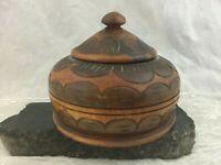 Vintage Hand Carved Wood Round Covered Trinket Storage Jewelry Box