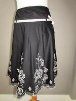 NEXT Ladies Black Cotton Skirt White Floral Embroidery Bow Trim Size 12 PETITE