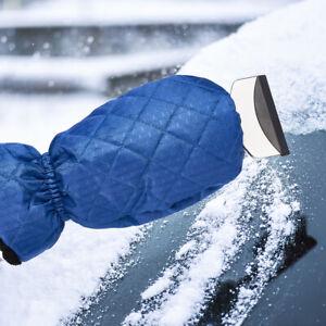 Winter Ice Snow Scraper Mitt Fleece Glove Car Window Windshield Waterproof Blue
