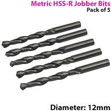 QTY 5 –12mm High Speed Steel Jobber Drill Bits– 118° Cutting Tip Metal & Wood