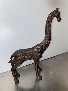 Brutalist Hand Cast Iron Mid Century Modern MCM Giraffe Sculpture