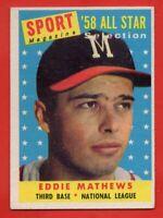 1958 Topps #480 Eddie Mathews EX-EX+ WRINKLE HOF Milwaukee Braves FREE SHIPPING
