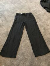 M&s Black Pure Linen Pants Trousers Size 12 Medium Bnwt Free Sameday Postage
