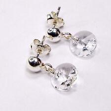Damen Ohrringe 925 Sterling Silber Swarovski Kristalle 8 mm Hänger Klar Weiß