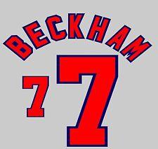 World Cup 1998 Beckham 7 England Home Football Name set for National shirt