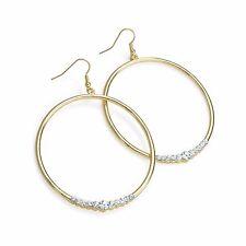Diamante Gold Colour Round Drop Earrings