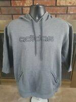 Vintage Adidas Spellout Logo Hoodie Hooded Sweatshirt Mens Large Gray Distressed