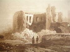 GRAVURE XIXe '' RUINES EN MONTAGNE '' signée Hubert couleur bistre 1853